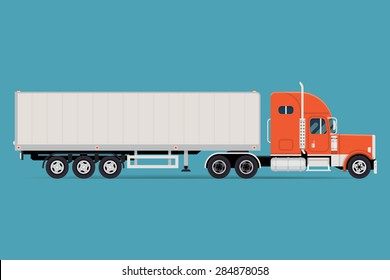 Cool semi-trailer truck with sleeper towing engine transport web icon or design element with american tractor unit pulling semi-trailer, side view, isolated | Freight transportation illustration