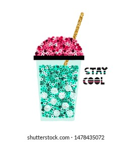 Cool sequin cocktail with gold glitter straw. Fashion kids print. Vector hand drawn illustration.
