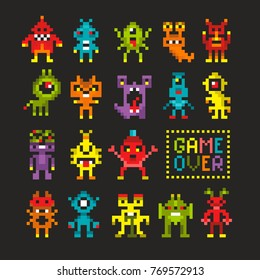 Cool set of 8 bit monsters and robots. Game over banner in vector. Colorful pixel art.