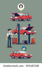 Cool set of car repair shop and auto service vector illustrations. Technical maintenance flat concept layout with mechanic character standing next to car lift, broken and ready to use repaired car