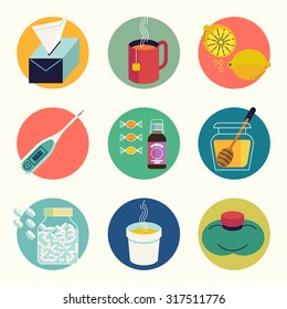 Cool set of cold and flu season round web icons in vector flat design featuring tissue, hot beverage tea mug, lemon fruit, honey jar, cup of chicken soup, aspirin pills, thermometer, cough syrup