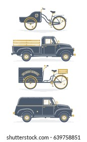 Cool set of delivery and shipping transport. Pickup and wagon trucks and freight bicycles. Light duty trucks and heavy duty bicycles in vintage limited colors style, isolated on white background