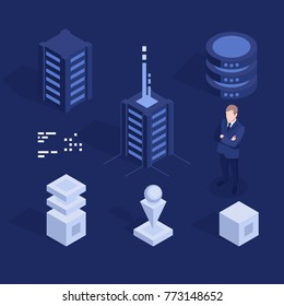 Cool set of digital technology design element vector, server room and data center equipment, database processing unit, engineer man flat isometric objects