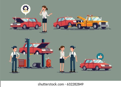Cool set of repair shop and auto service vector illustrations. Technical maintenance set with mechanic and female customer characters, towing truck, car lift, broken and ready to use repaired car