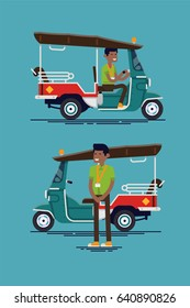 Cool set of vector flat design oriental transport. Asian or indian auto rickshaw tricycle cab with smiling driver male character standing and riding Tuk Tuk
