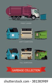 Cool set of vector icons on city waste collection service with names. Garbage truck with dumpster containers filled and empty, isolated. Urban sanitary vehicle garbage front loader truck