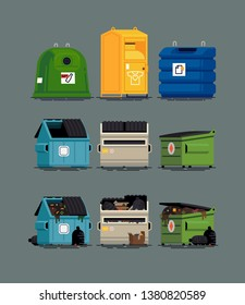 Cool set of vector items on city waste collection service. Dumpster and recycling containers filled and empty, flat design isolated