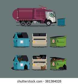 Cool set of vector items on city waste collection service.  Trash truck with dumpster containers filled and empty, isolated. Urban sanitary vehicle garbage front loader truck