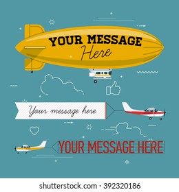 Cool set of vector planes pulling banners and helium ad blimp airship. Modern flat concept design on flying advertising banners and blimps. Ideal for web banners and printable materials
