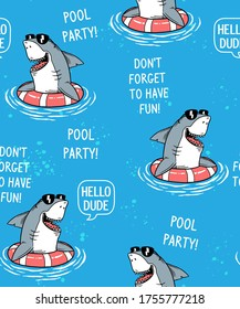 Cool shark in pool seamless pattern .Vector illustration for t-shirt prints, posters and other uses.