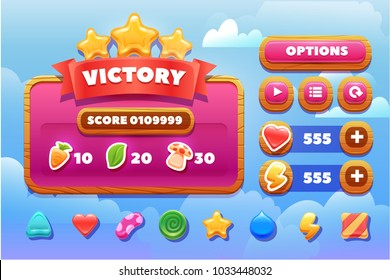 Cool shiny glossy colorful shapes, vector assets for gui design.Cartoon vector title wooden banners and buttons set . for game design.Screen victory