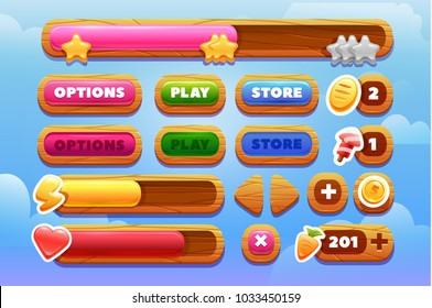 Cool shiny glossy colorful shapes, vector assets for gui design.Cartoon vector title banners and buttons set . for game design.