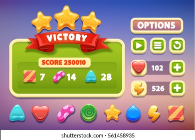 Cool shiny glossy colorful shapes, vector assets for gui design.Cartoon vector title banners and buttons set . for game design.Screen victory
