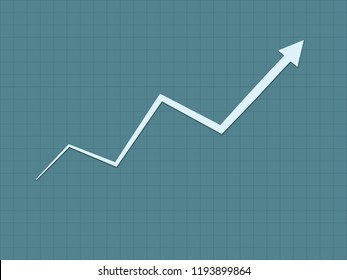 A cool and simple blue upward trend growth for success graph for business and financial progress with zigzag line vector illustration