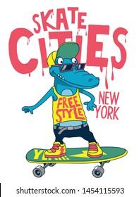 Cool skater monster vector design for t shirt