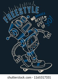 Cool skater robot vector with skateboard
