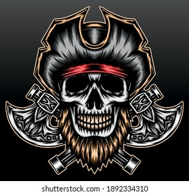 Cool skeleton pirate. Premium vector