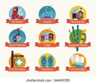 Cool ski resort guide plan map flat design vector icons featuring main facilities lodge, rental shop, warming hut, first aid station, restrooms, ticket office, school, chair lift and tramway