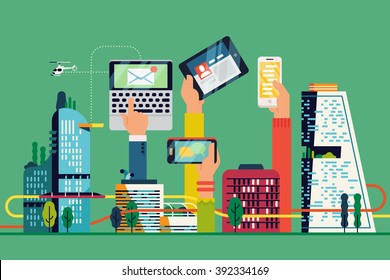 Cool Smart City flat illustration. Urban development vision to integrate communication and information technology. Modern urban information and data system. City efficiency concept layout