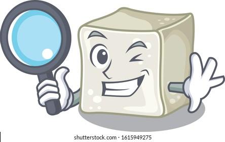Cool and Smart sugar cube Detective cartoon mascot style