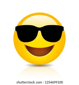 Cool smiling emoji with sunglasses vector illustration isolated on white background