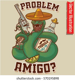 Cool snake revolver posters for nightclub. Mexican week. Snake in a hat and Tequilla.   T-shirt print. Vector illustration.