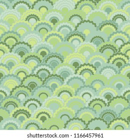 Cool snake skin scales squama background, vector seamless fabric pattern, tiled textile print. Traditional japanese squama scales seamless arc tiles ornament. Roof pattern.