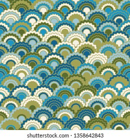 Cool snake skin scales squama background, vector seamless fabric pattern, tiled textile print. Classic chinese squama scales seamless arc tiles ornament. Fish skin pattern.