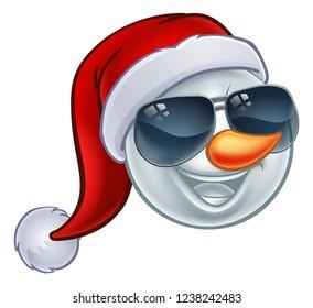 A cool snowman Christmas emoticon Emoji wearing a Santa hat and sunglasses or shades