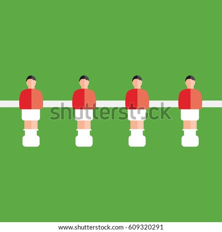 cool soccer or football toy table game clean simple vector with four team players illustration with