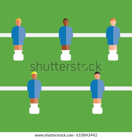 cool soccer or football toy table isolated illustration game clean simple vector with team players on