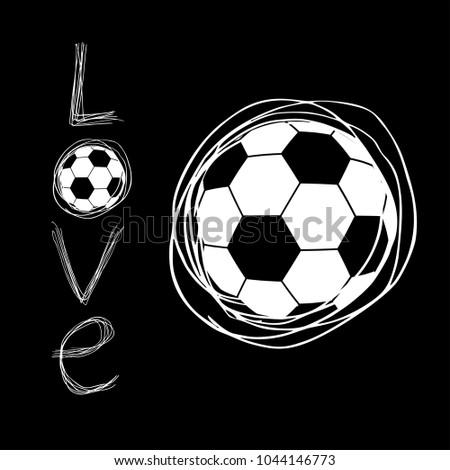 cool soccer love art symbol stock vector royalty free 1044146773
