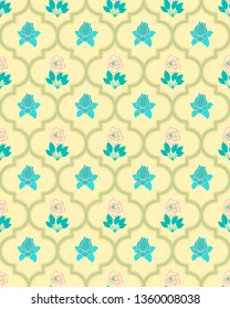 cool soft and colorful moroccan seamless pattern tile with decorative roses and leaves design for textile, fabric, backgrounds, decoration, wallpaper, backdrop & creative surface design templates.