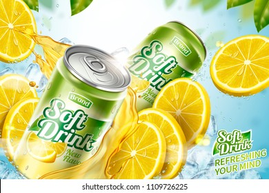 Cool soft drink ad with sliced fruit and splashing juice in 3d illustration, green leaves bokeh background