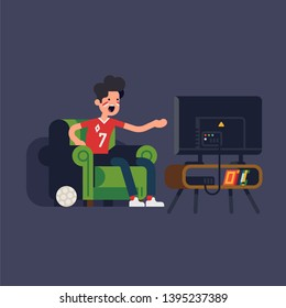 Cool sports fan character sitting in armchair watching sports on TV yelling at screen. Angry guy in chair in front of television set
