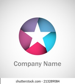 Cool star in a circle logo with sample company name. EPS10 vector image.
