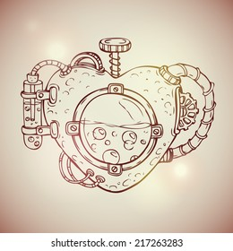 Cool steampunk mechanical heart, hand drawn illustration
