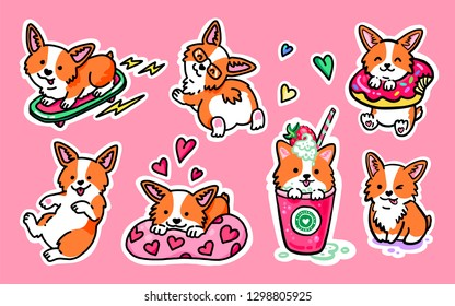 Cool sticker pack. Corgi skater, Corgi in love and cute puppies. Cocktail with corgi. Cute puppy with donut. Big set of funny stickers with corgi. Great for greeting cards, Valentine's Day and more.