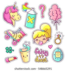 Cool stickers set in 80s-90s pop art comic style. Patch badges and pins with cartoon characters, food and things. Vector crazy doodles with unicorn, teenage girl, roller skate etc. Part 8