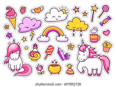 Cool stickers set of unicorns, cartoon characters, clouds, rainbow, magic elements. Vector illustration.