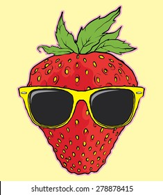 cool strawberry with sunglasses vector illustration