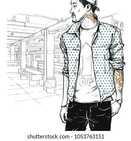 Cool stylish boy in sketch-style on a subway station. Vector illustration.