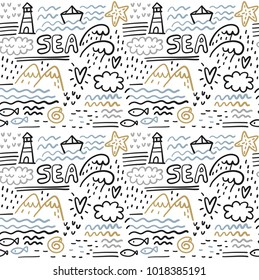 Cool summer doodle sea life