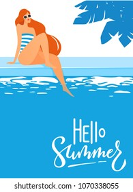 Cool summer pool party poster with young sexy womansitting near swimming pool with hello summer text