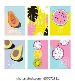Cool summer print with Exotic fruits. Papaya, dragon fruit, avocado, kiwi, lemon, watermelon