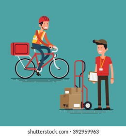 Cool supply chain shipment workers people. Courier character with delivery cart with boxes, and bicycle delivery man. Local shipping and logistics service in business and industry