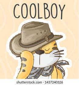 cool tiger hand drawn style with cowboy hat- animal cartoon character