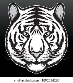 Cool tiger illustration. Premium vector