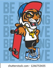 Cool tiger vector design for t shirt printing