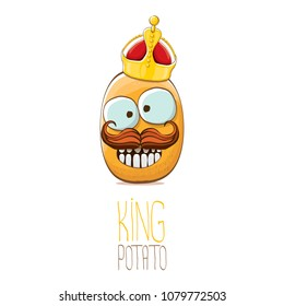 cool tiny king potato cartoon character with golden crown isolated on white background. My name is potato vector concept illustration. funky summer vegetable food character